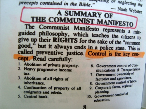 The taking over of education by government is at number 10 list of communist Manifesto