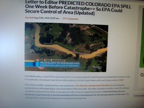 Silverton Toxic Spill EPA Involvement