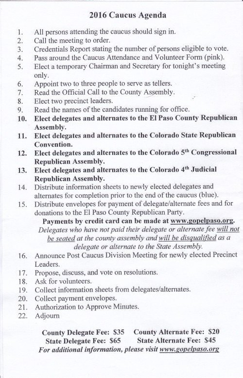 Caucus Agenda 2016, Cpolorado Springs, Colorado