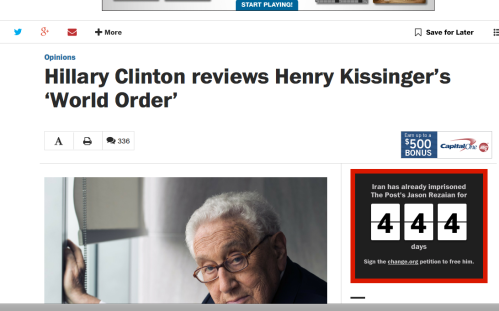 Hillary Clinton endorsement of Henry Kissinger New World Order theme book
